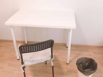 Myydään: IKEA table, chair and a trash bin