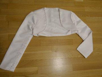 Ilmoitus: Bolero valkoista satiinia, koko: 36