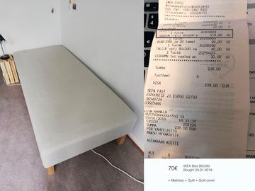 Myydään: Single bed 90x200