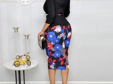 Vente avec paiement en ligne: Robe de bureau moulante imprimé Floral élégant Vintage noir Patch