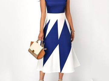 Vente avec paiement en ligne: Vintage élégant africain bureau dames femmes Midi robes grande