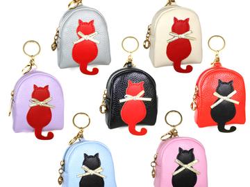 Liquidation Lot: (72) Stylish Women PU Leather Zip Keychain Coin Purses Wallets