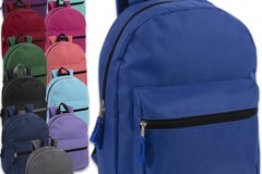 Liquidation Lot: 24 x Wholesale 15 Inch Basic Backpacks - 12 Assorted Colors