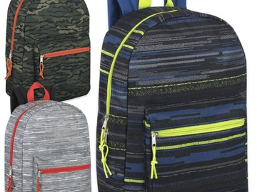 Liquidation Lot: 24 x Edgy & Rugged 17 Inch Printed Backpacks - Boys Assortment