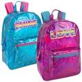 Liquidation Lot: 24 x 17 Inch Shiny Hologram Backpacks - Girls