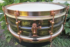 Selling with online payment: LUDWIG 5 X 14 DELUXE FACTORY ENGRAVED  BLACK BEAUTY 1920'S