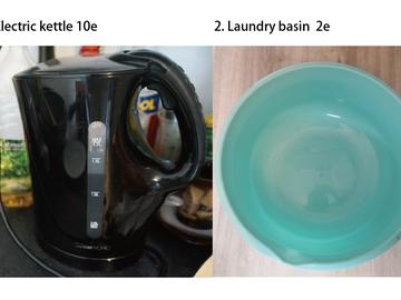 Myydään: Electric kettle, laundry basin
