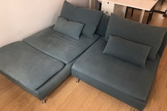 Selling with online payment: Ikea Söderhamn 2-seat sofa with chaise lounge/finnsta turquoise