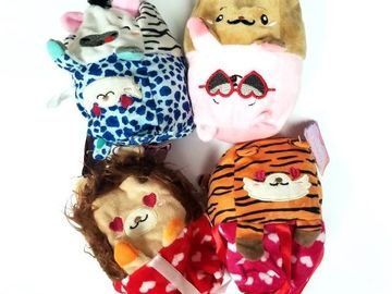 Liquidation Lot: Moodies Reversible Valentine's Day Plush Toy Animals - Pre-priced