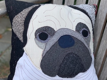 Selling: Pug Dog Pillow, Pet Pillow, Dog Decor, Dog Lover Gift, Cushion Co