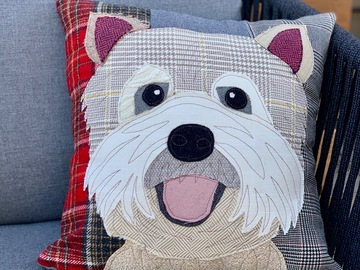 Selling: Terrier Dog Pillow, Pet Pillow, Dog Decor, Dog Lover Gift, Cushio