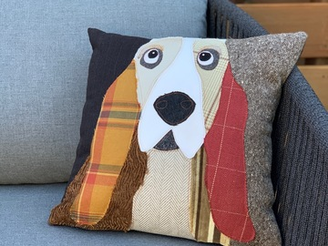 Selling: Basset Hound Dog Pillow, Pet Pillow, Dog Decor, Dog Lover Gift