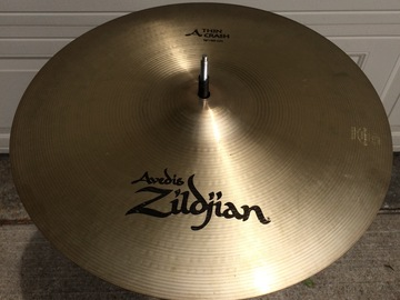 "Selling with online payment or cash/check/money order/cash app/Venmo: A Zildjian 16"" thin crash, $120 or best offer"