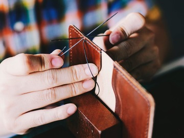Class Online Payment: Wallet making class with real leather