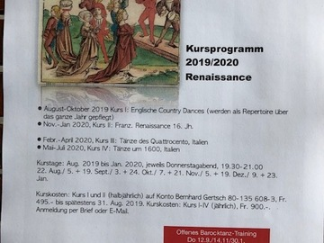 Workshop Angebot (Termine): Renaissance-Tanzzyklus 2019/2020