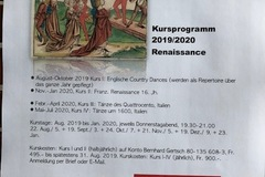 Workshop Angebot (Termine): Renaissance-Tanzzyklus 2019/2020