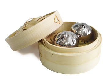 : Dumpling Salt and Pepper Shakers - Silver