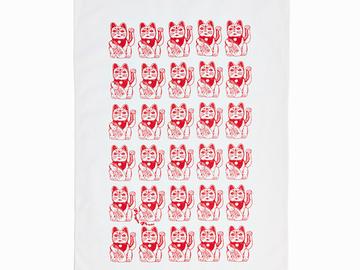 : Lucky Cat Tea Towel - Red