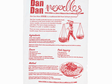 : Dan Dan Recipe Tea Towel - Red