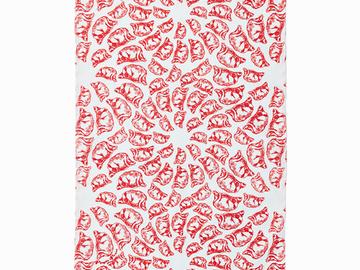 : Jiaozi Pattern Tea Towel - Red