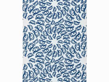 : Jiaozi Pattern Tea Towel - Blue