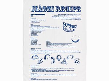 : Jiaozi Recipe Tea Towel - Blue