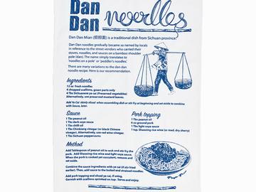 : Dan Dan Recipe Tea Towel - Blue