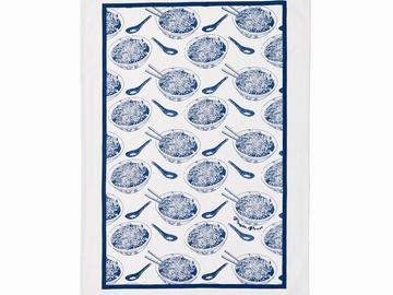 : Noodle Bowl Tea Towel - Blue