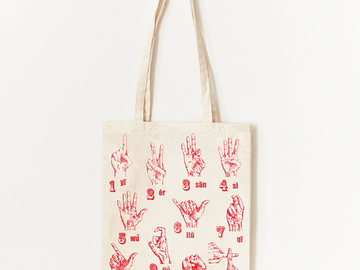 : Finger Counting Tote Bag - Red