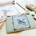 : Watercolor Beautiful Sparrow Mahjong Carry On Pouch