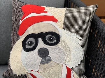 Selling: Halloween Dog Costume Pillow, Red and White Costume, Fall Decor