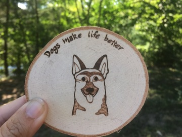 Selling: Simple German Shepard Magnet,Coaster, or Ornament