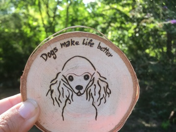 Selling: Poodle Dog Wood Magnet
