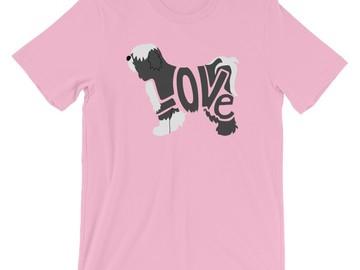 Selling: LoVe T-Shirt - Tibetan Terrier (Black/White design)