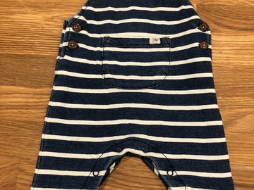 Selling with online payment: Soft stripey dungarees, age 3-6 Mths
