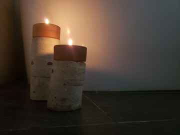 : Concrete and hardwood candle holders