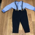 Selling with online payment: Dungaree & shirt (grow) combo, age 6-9 Mths