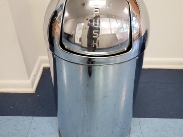 Selling Products: Metal Cylindrical Trash Can (Silver)