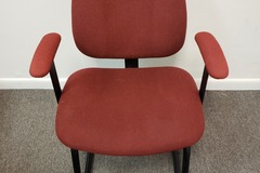 Selling Products: Metal Chair (Burgundy cloth cover) with Arms and no Rollers