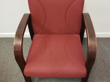 Selling Products: Metal and Wood Chair (Burgundy cloth cover) with Arms no Rollers