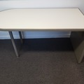 Selling Products: Table with One Half-Circle End (White and Beige)