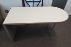 Selling Products: Table with One Half Circle End (White and Beige)