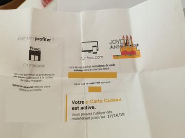 Vente: E-carte cadeau Fnac (50€)