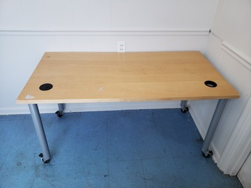 Selling Products: Wood Table with Metal Legs with Rollers