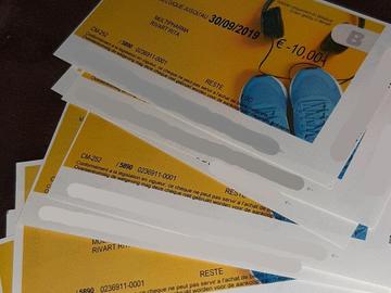 Vente:  Chèques cadeaux Sport & Culture (Belgique) (90€)