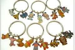 Liquidation Lot: 200-Authentic Disney Keyrings w/3 charms- $ .50 each!