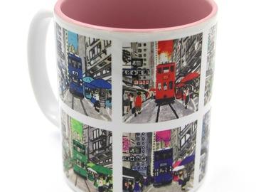: Hongkong Tram Printed Mug - INSIDE PINK