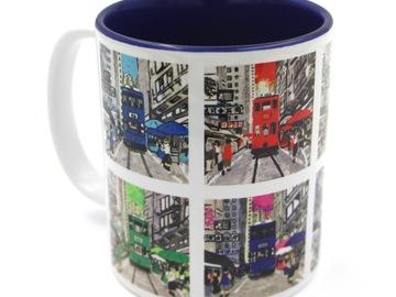 : Hongkong Tram Printed Mug - INSIDE DARK BLUE