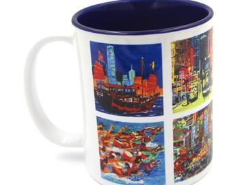 : Beautiful Hongkong  Printed Mug - INSIDE DARK BLUE