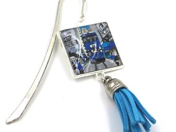 : Jewerly Bookmark Hong Kong Tram - BLUE